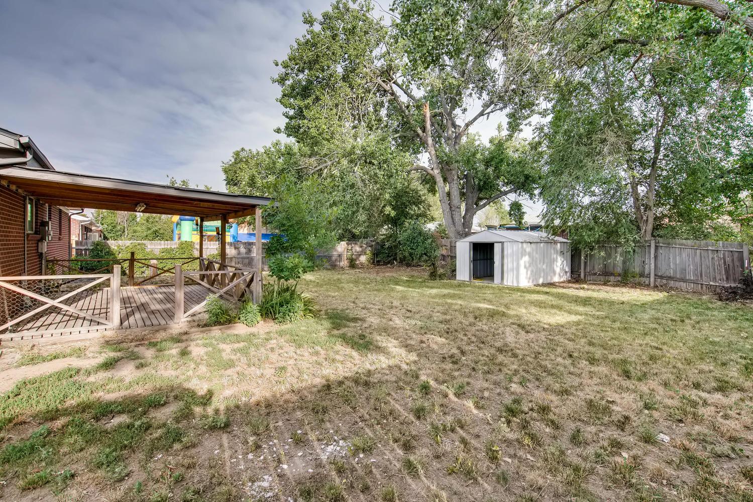 REAL ESTATE LISTING: 13040 Pensacola Place Denver Back Yard & Covered Deck