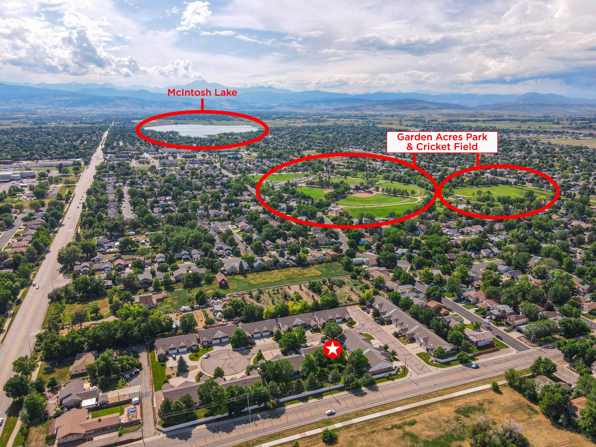 REAL ESTATE LISTING: 1730 Grove Ct Longmont Aerial Parks & Lake